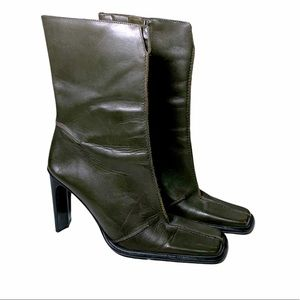 Bronx Olive Green Square Toe Leather Heeled Boots